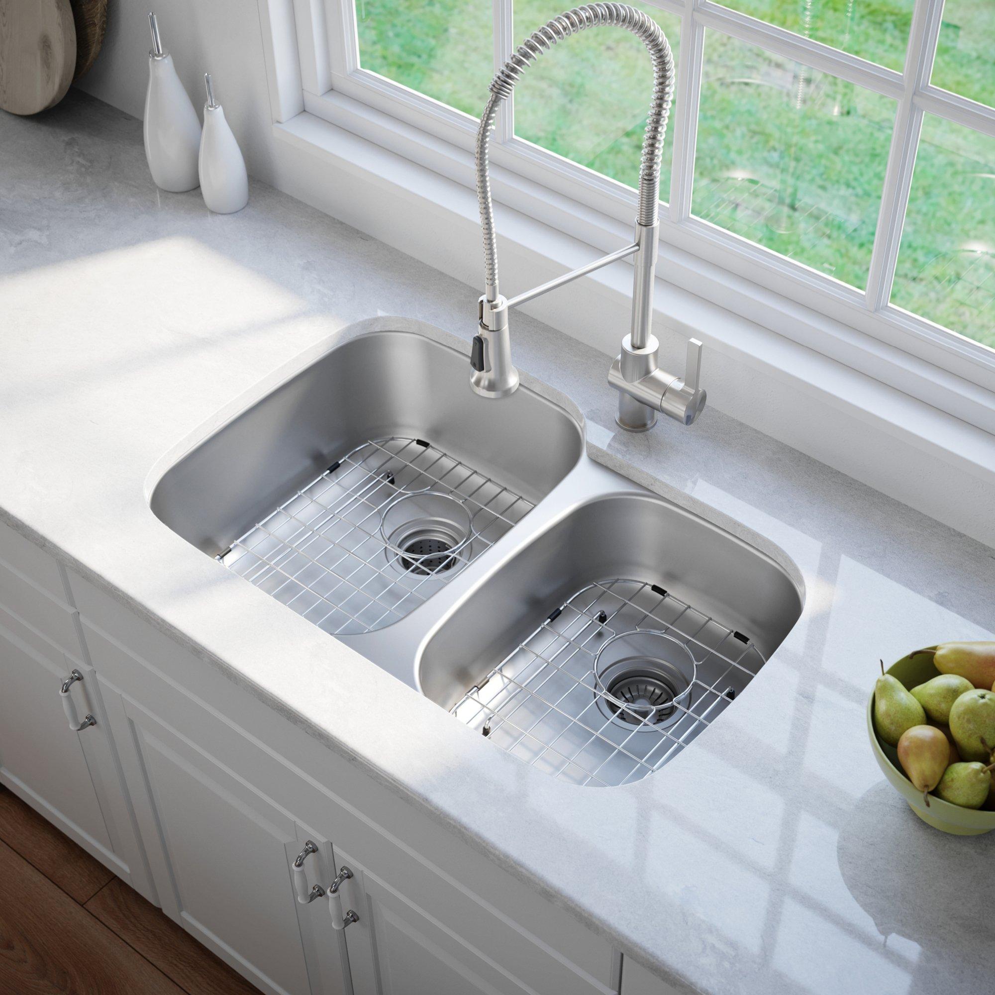 Kraus KBU24 32 inch Undermount 60/40 Double Bowl 16 gauge Stainless Steel Kitchen Sink by Kraus (Image #3)