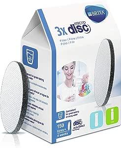 FILTROS BRITA MICRODISC – Pack 3 filtros para el agua, Discos filtrantes compatibles con botellas BRITA que reducen la cal y el cloro