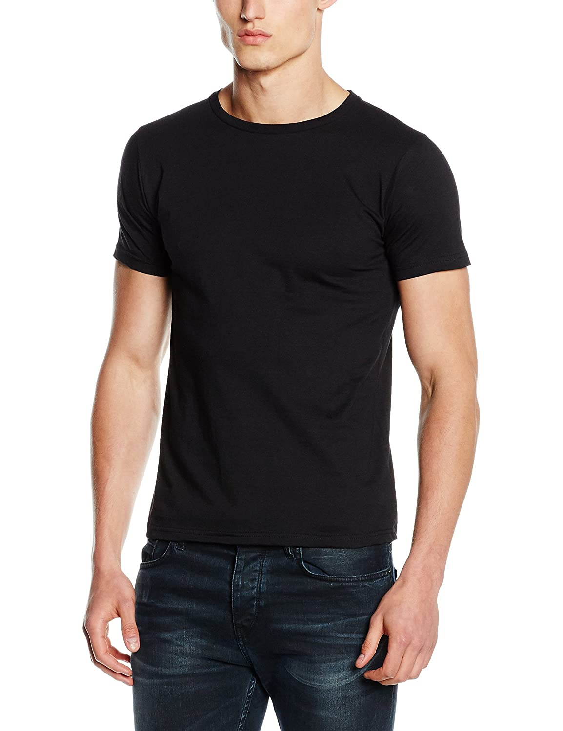 c1fb86cf2190dd Fruit of the Loom Mens Fitted Valueweight Short Sleeve Slim Fit T-Shirt (XL)  (Black)