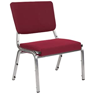 Flash Furniture HERCULES Series 1500 lb. Rated Burgundy Antimicrobial Fabric Bariatric Medical Reception Chair with 3/4 Panel Back