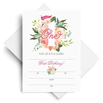 1st Birthday Invitations With Envelopes 5x7 First Bday Party Watercolor Floral Fill In Style