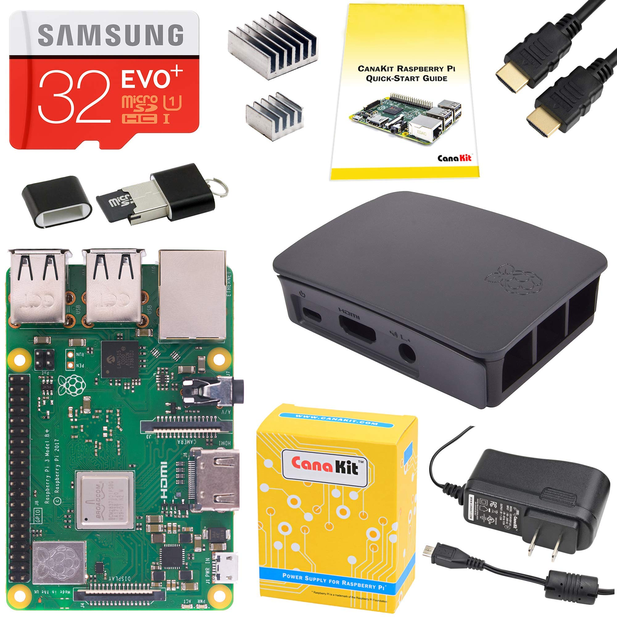 CanaKit Raspberry Pi 3 B+ (B Plus) Starter Kit (32 GB EVO+ Edition, Official Black Case)