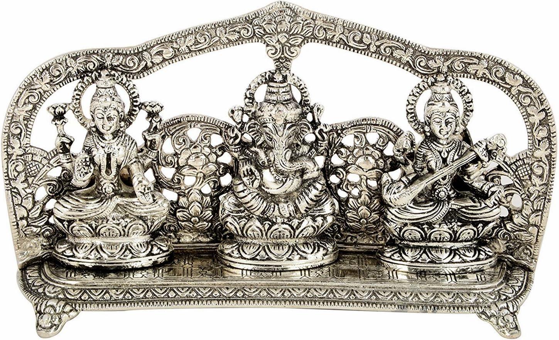 Silver Plated Laxmi Ganesh Saraswati Statue- Idol Fine Carving