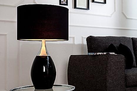 Tischleuchte 60cm Klassisch elegantes Design Metall Leinen ...