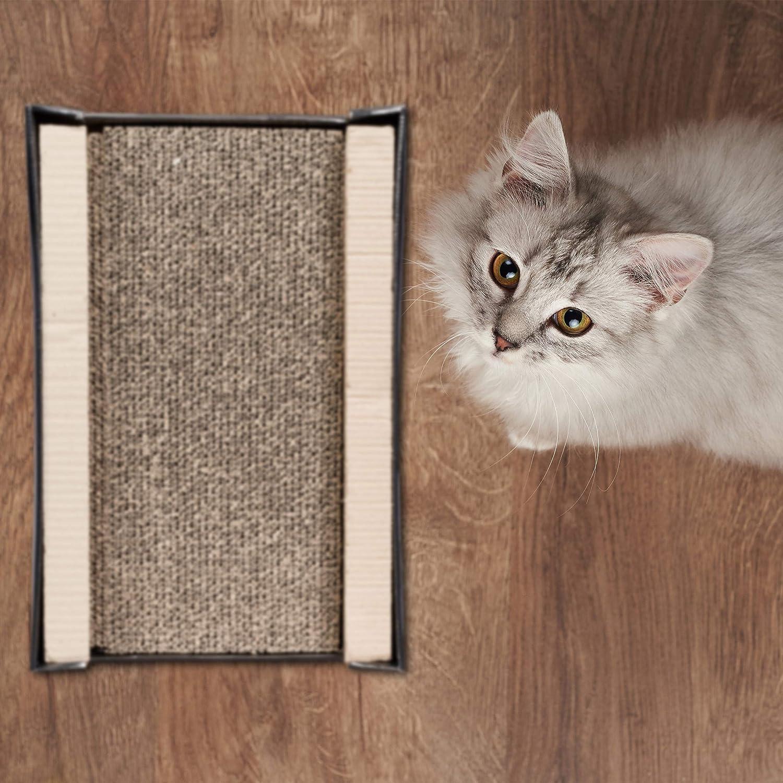 Relaxdays Rascador para Gatos de Cart/ón con Hierba Gatera 4 Piezas Marr/ón 12 x 50 x 31,5 cm