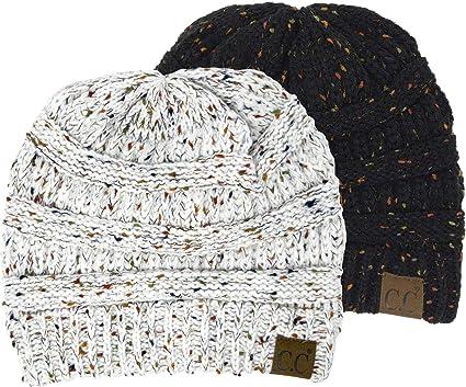 26d23d47bfc H-6033-2-0625 Confetti Knit Beanie Bundle - 1 Black