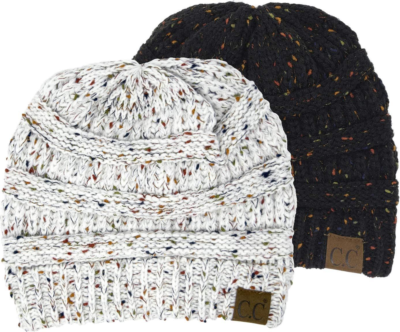 H-6033-2-0625 Confetti Knit Beanie Bundle - 1 Black, 1 Ivory (2 Pack)
