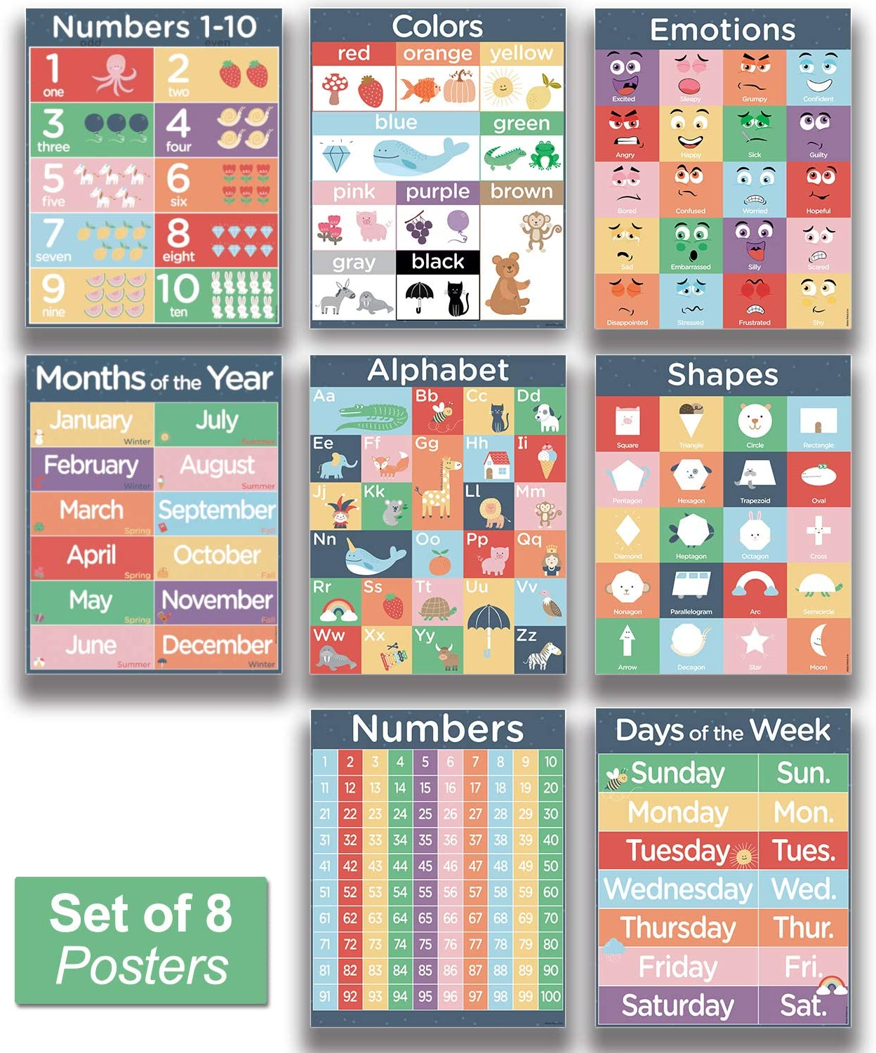 """8 Kids Classroom Posters - 16x20"""" Preschool Learning Charts with Gloss Coating"""