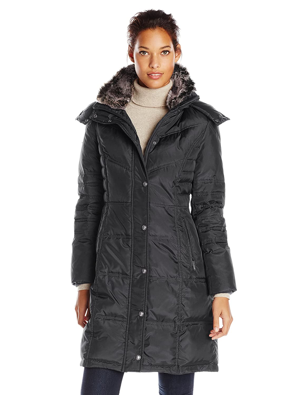 London Fog Women's Chevron Down Coat with Faux-Fur Trim L820638L93