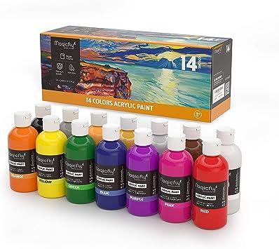Magicfly Pintura Acrílica de 14 Colores 240ml Gran Volumen Pintura ...