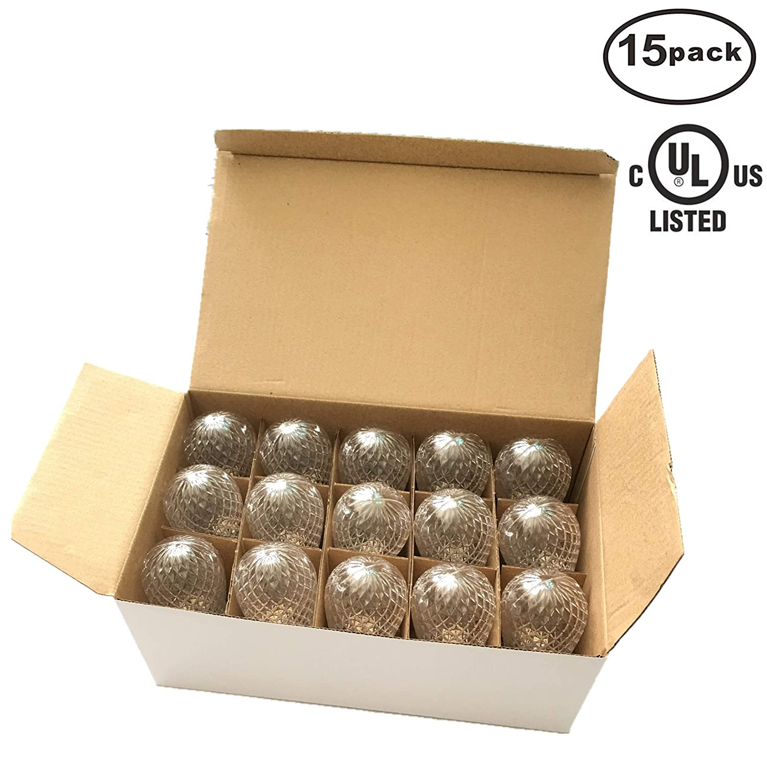 Indoor//Outdoor Use,Warm White,E17//C9 Base,0.5Watt,Dimmable,Durable,Shatterproof G40 Faceted Replacement LED Bulbs for C9 Outdoor Christmas String Lights 25 Pack