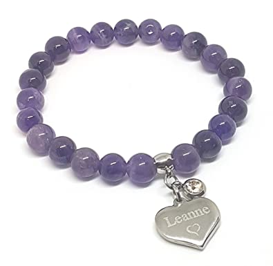 Personalised Engraved 40th Birthday Natural Amethyst Beaded Stretch Bracelet 8mm