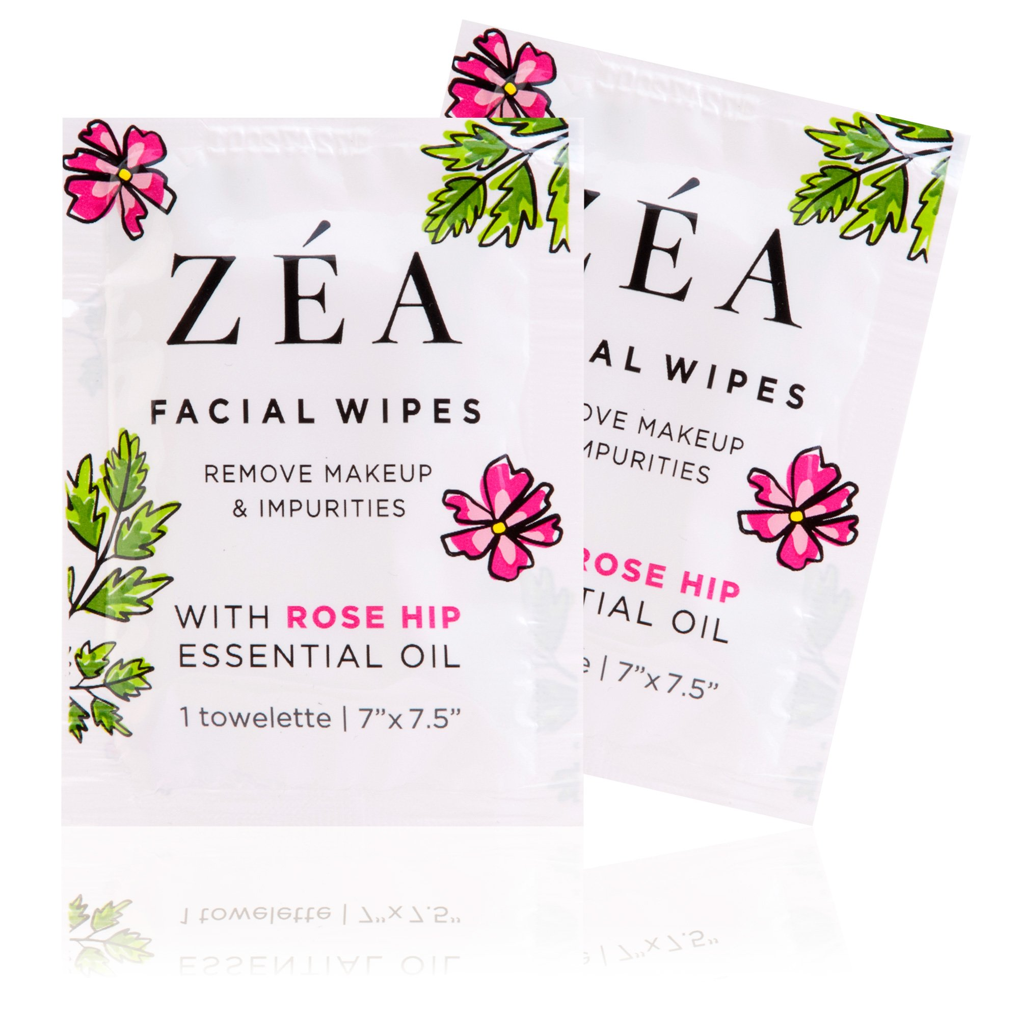 ZEA Makeup Remover Wipes | Infused with Rose Hip Essential Oil | Alcohol-Free & Paraben-Free | 50 Individually Wrapped Wipes