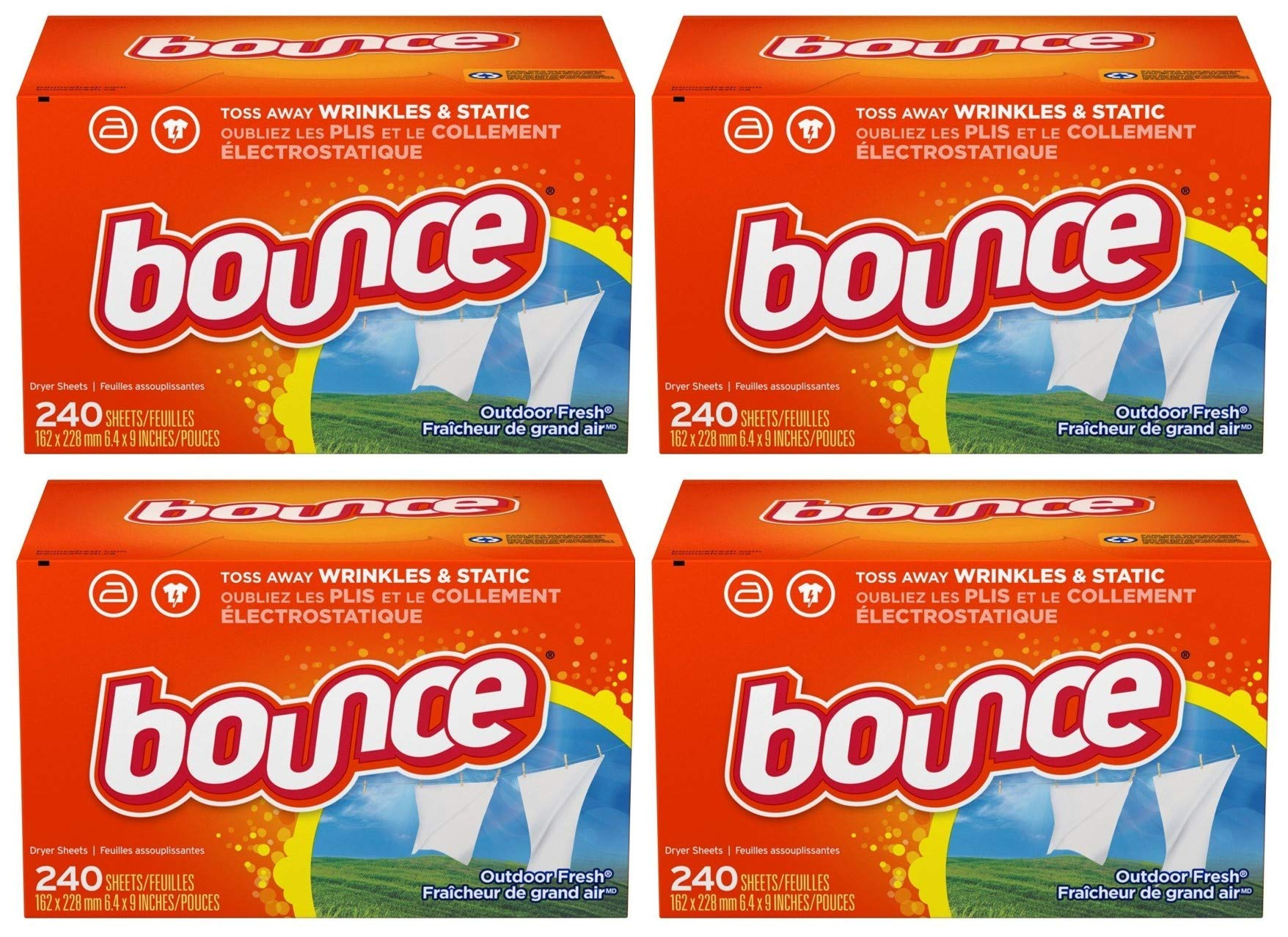 Bounce Fabric Softener and Dryer Sheets, Outdoor Fresh, 240 Count (.4 Boxes (240 Count))
