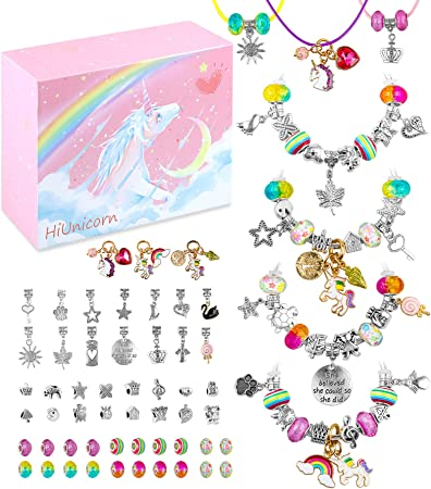 Flasoo 75 Pcs Jewelry Kit with Charm Beads for Bracelet Jewelry Making Crafts Christmas Gifts for Girls Age 6-14 Charm Bracelet Kit New Year Present Birthday Gift