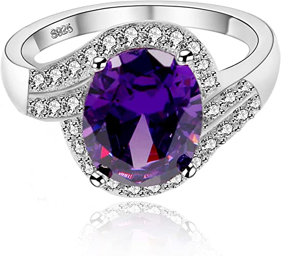 14K White Gold Over Oval Cut Amethyst /& Topaz Solitaire Fashion Engagement Ring