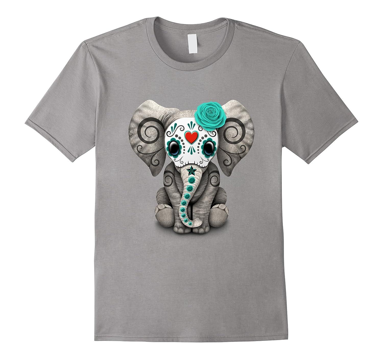 Blue Day of the Dead Sugar Skull Baby Elephant T-shirt-TD