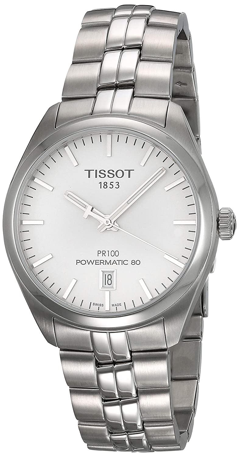 Amazon Com Tissot Pr 100 Silver Dial Stainless Steel Automatic