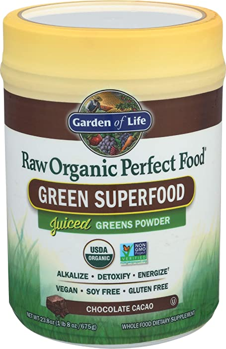Garden of Life Raw Organic Perfect Food Green Superfood Juiced Greens Powder - Chocolate, 60 Servings (Packaging May Vary) - Non-GMO, Gluten Free, Vegan Whole Food Dietary Supplement, Plus Probiotics