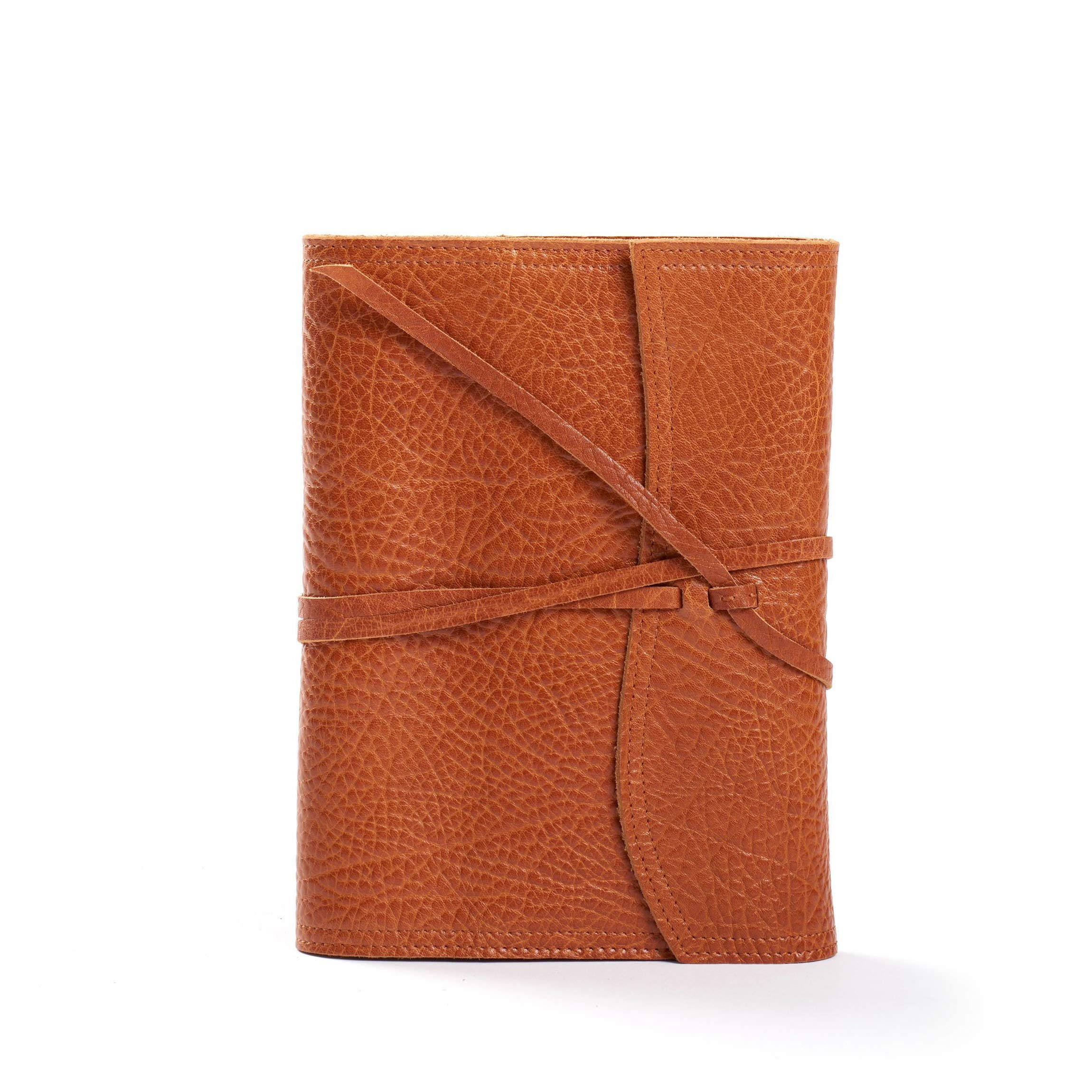 Medium Wrap Journal - Full Grain Italian Leather Leather - Whiskey (Brown)