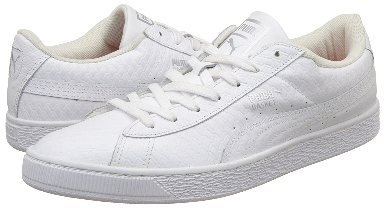d8562dfafb4 Puma Men s Basket Classic B W Idp White Leather Sneakers - 9 UK India (43 EU)   Buy Online at Low Prices in India - Amazon.in