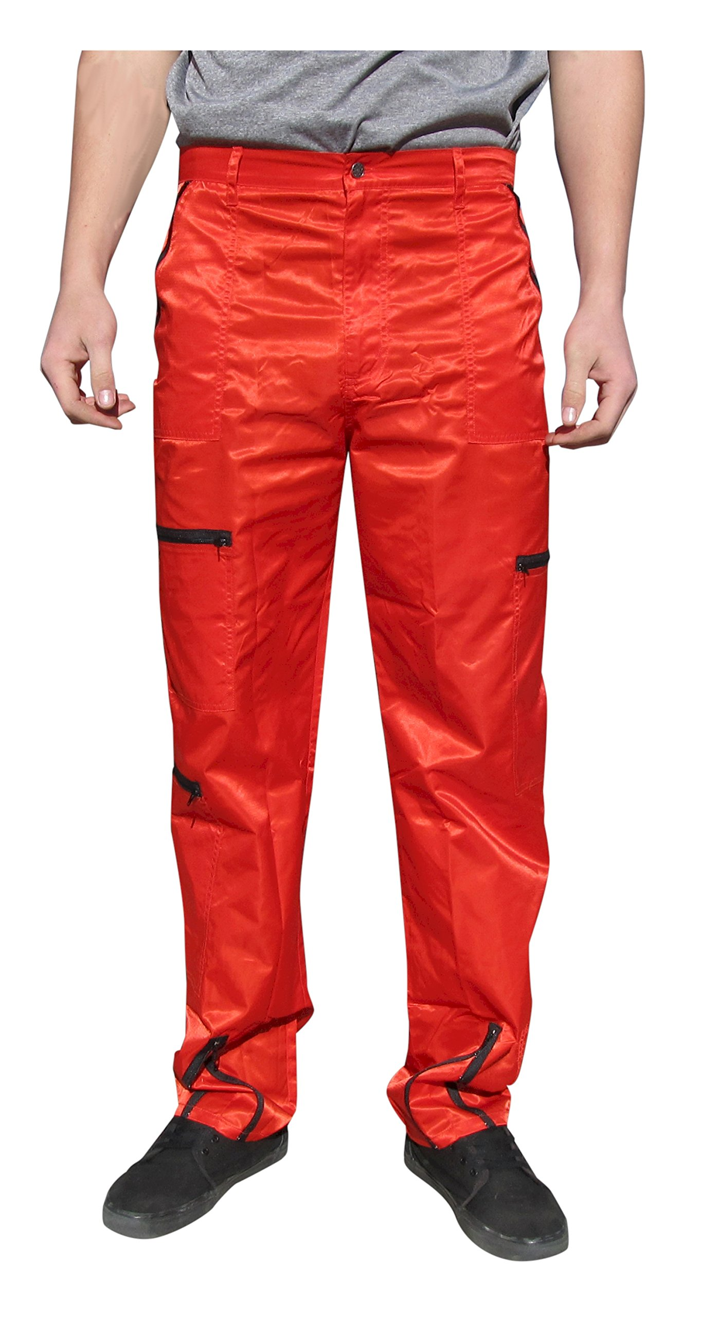 Panno D'Or Shiny Nylon 80s Parachute Pants (Exactly 36'', Red)
