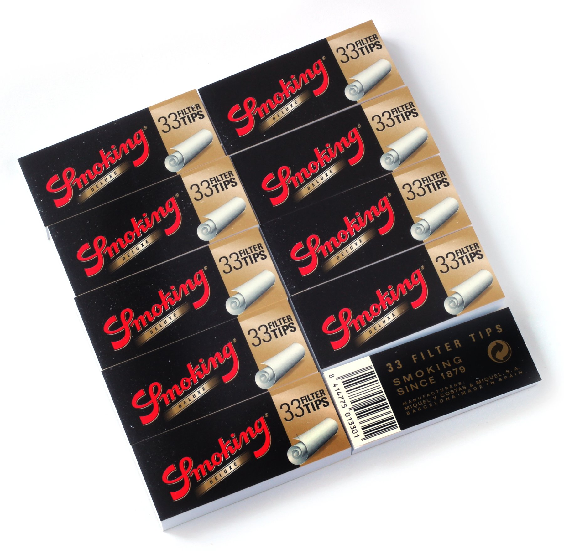Smoking de Luxe Wide Filter Tips - 10 booklets x 33 Tips=330 Filter Tips