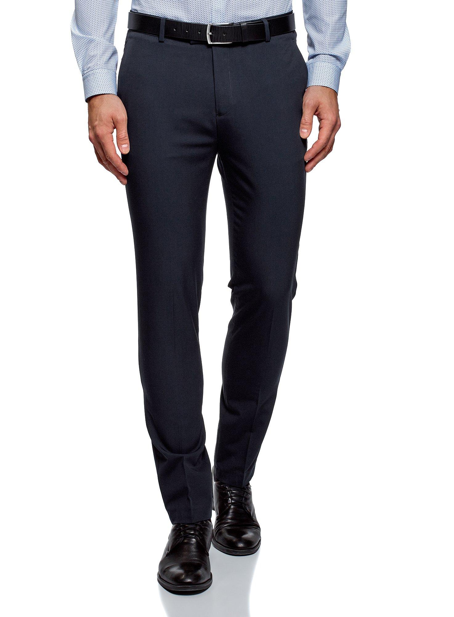 oodji Ultra Men's Lightweight Slim-Fit Trousers, Blue, US 33 / EU 44 / L