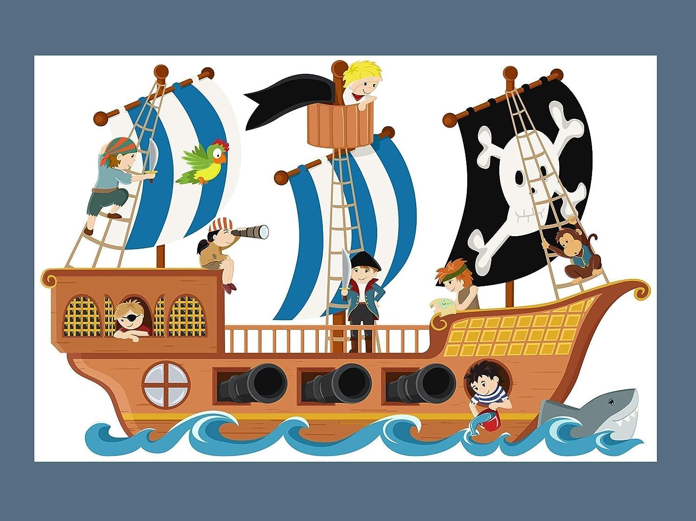 WandtattooPiratenschiff personalisierbarer Wandaufkleber f/ür Jungen Piratenzimmer Kinderzimmer