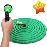 Garden Hose, Flexible Hose 50ft Expanding Hose with Double Latex Core, Solid Brass Connector and Extra Strength Fabric(up to 15M)