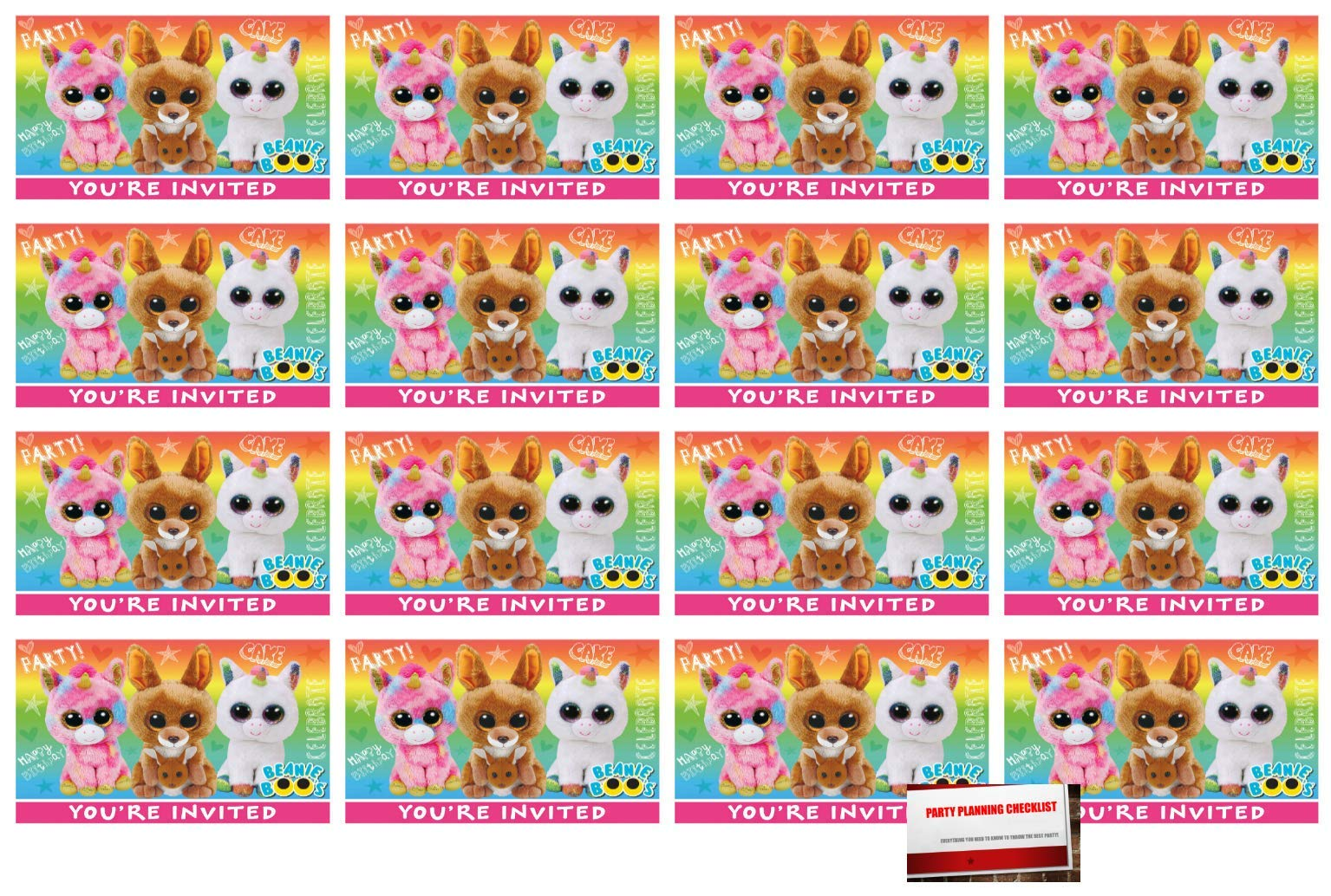 3c28606957 BEANIE BOOS 16 Postcard Invitations Birthday Party Supplies Value Pack Plus  Party Planning Checklist
