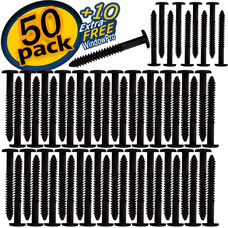Window Pro Black 60 Pack Shutter Pegs 3'' Spikes Fastener Loks (Black) by WindowPro