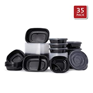 Rubbermaid 2108403 TakeAlongs Food Storage Single Base, Set of 35 (70 Pieces Total) | Meal Prep Containers, Lunch for Adults & Kids |Bento Box, 35-Pack, Black