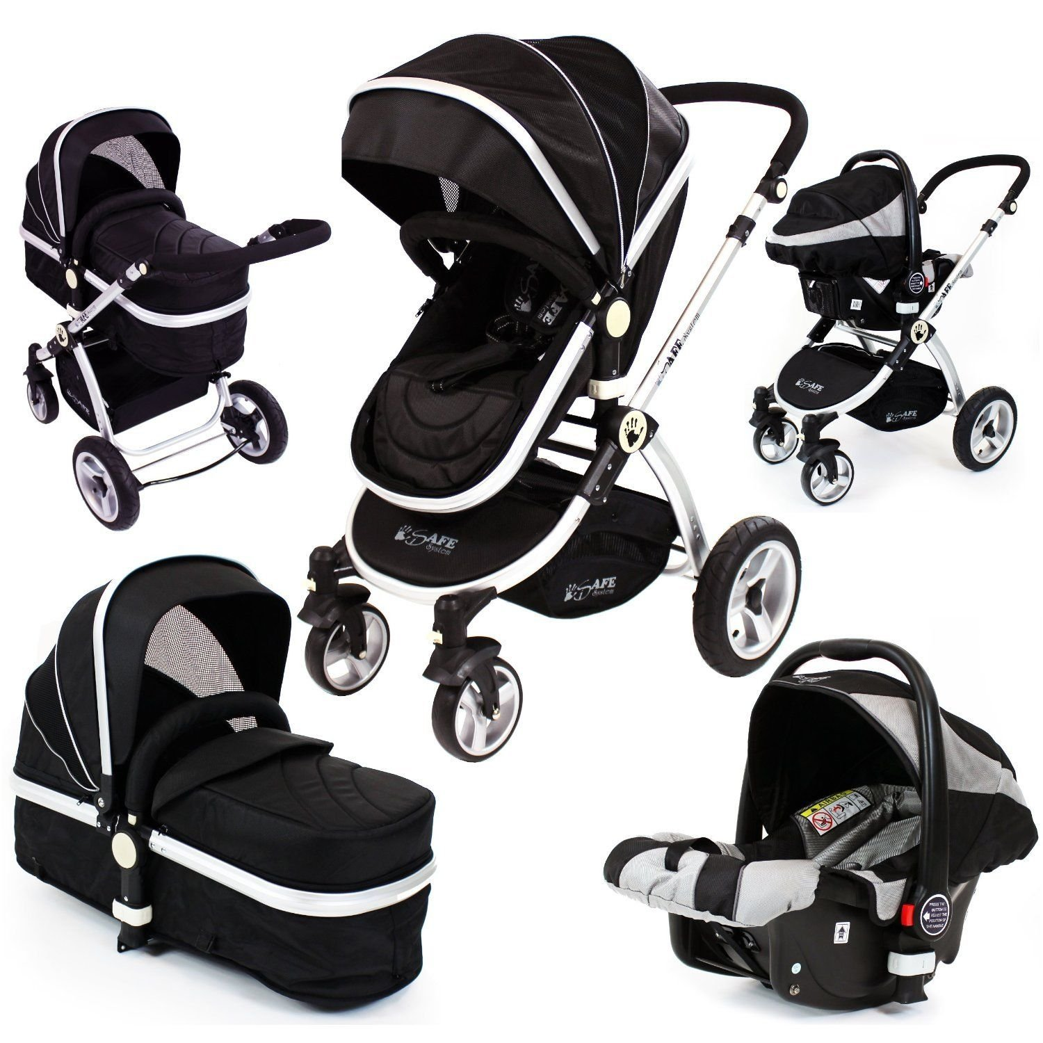 Isafe 3in1 pram travel system includes carseat raincovers amazon co uk baby