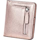 BIG SALE-AINIMOER Women's RFID Blocking Leather Small Compact Bifold Pocket Wallet Ladies Mini Purse with id Window (Champaign Gold)