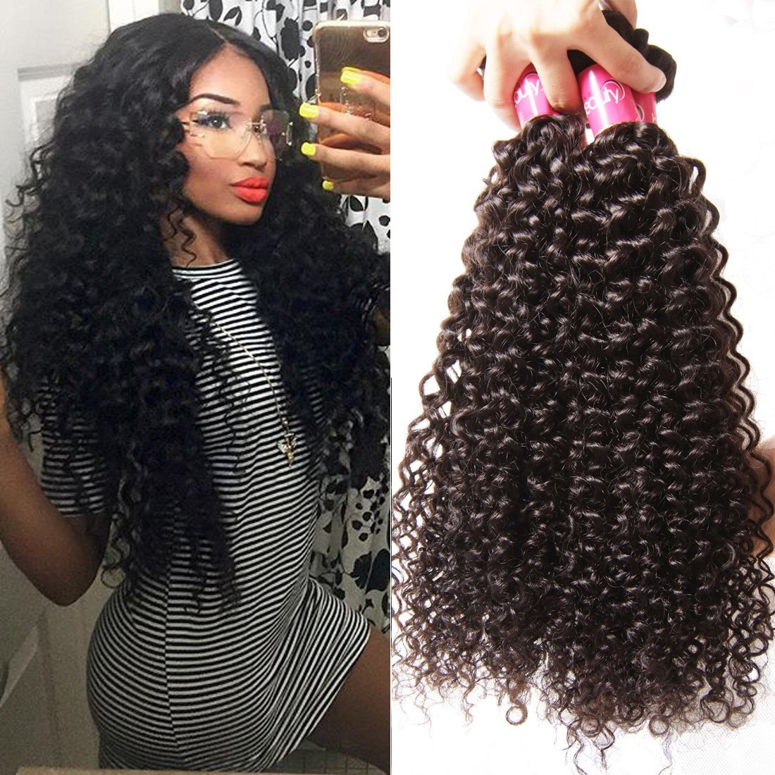Amazon Longqi Hair Brazilian Curly Hair Weave 3 Pack Bundles