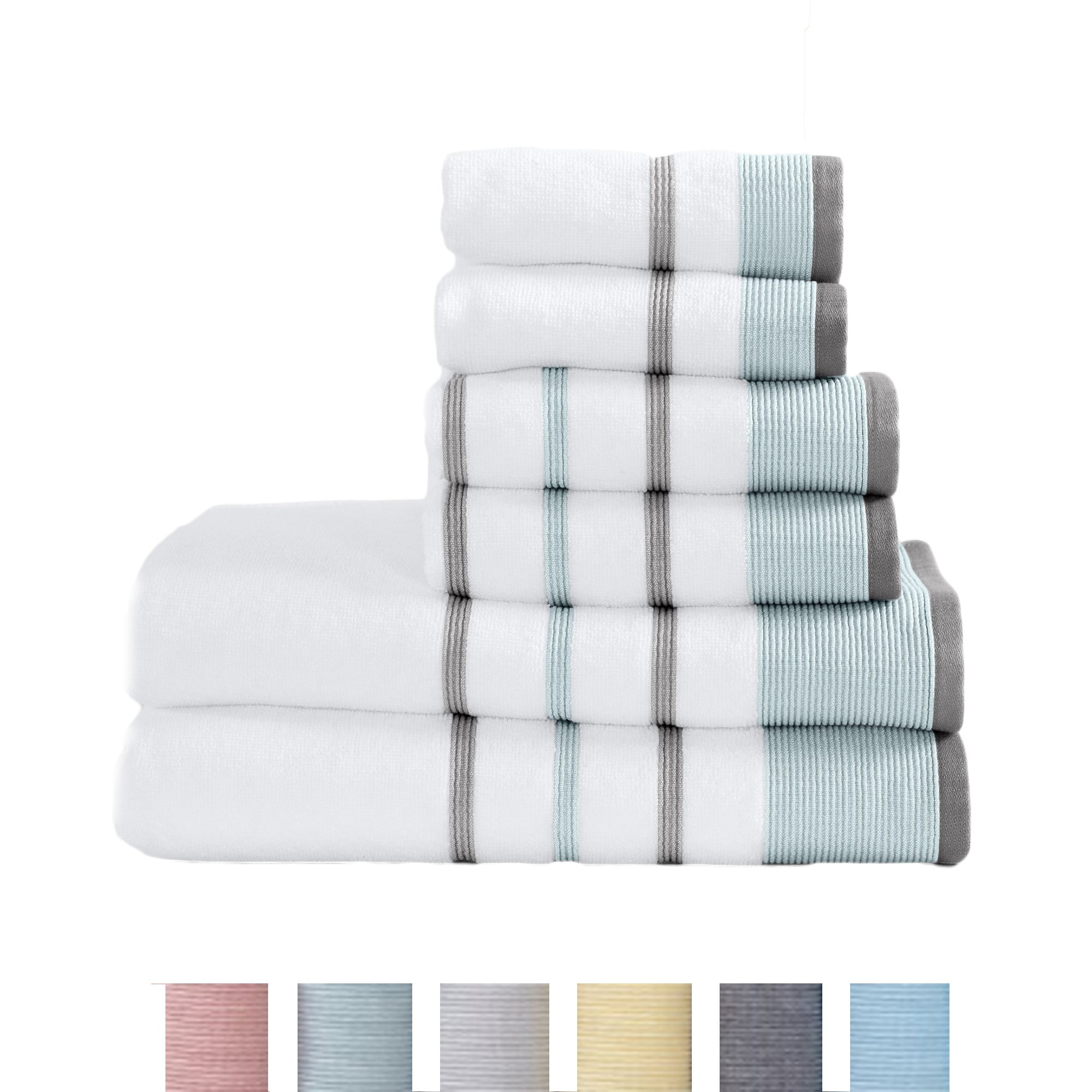 Great Bay Home 6-Piece Luxury Hotel/Spa 100% Turkish Cotton Striped Towel Set, 500 GSM. Includes Bath Towels, Hand Towels and Washcloths. Noelle Collection By Brand. (Eucalyptus/Grey)