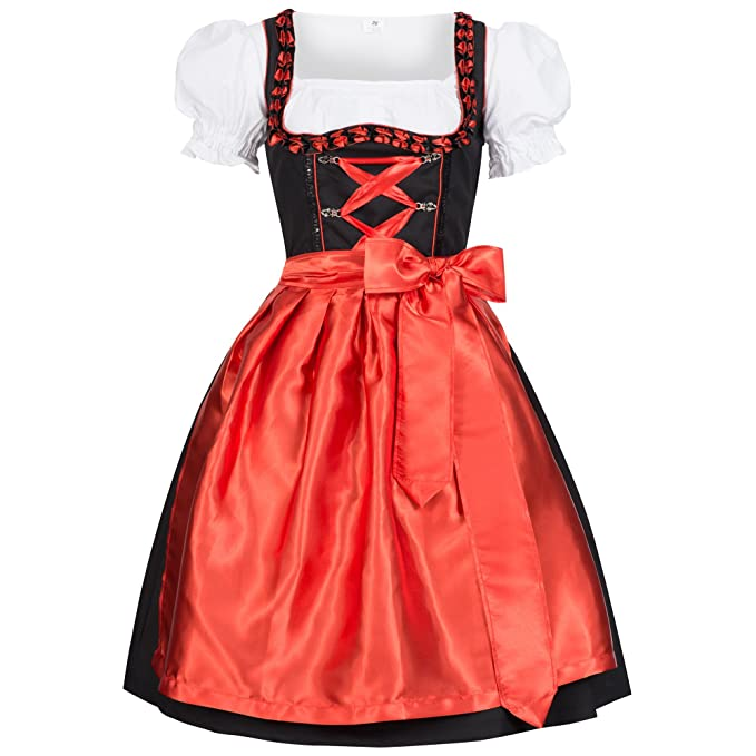 Gaudi-Leathers Dirndl Iwona Traje Tradicional de Tirolesa Vestido Moda Alemana de Oktoberfest carnevale para Mujer Negro Rojo