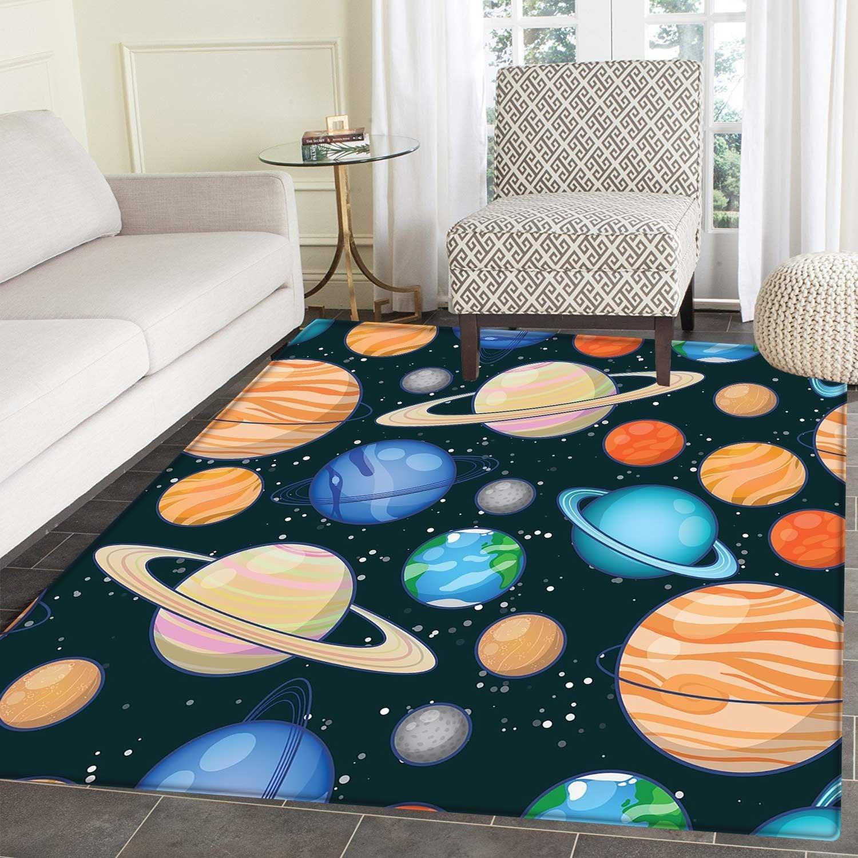 Galaxy small rug Carpet Cute Galaxy Space Art Solar System Planets Mars Mercury Uranus Jupiter Venus Kids Print door mat indoors Bathroom Mats Non Slip 2'x3' Multi