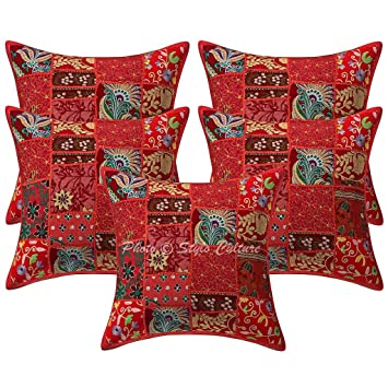 Amazon.com: Algodón Khambadi Patchwork Cojín decorativo ...