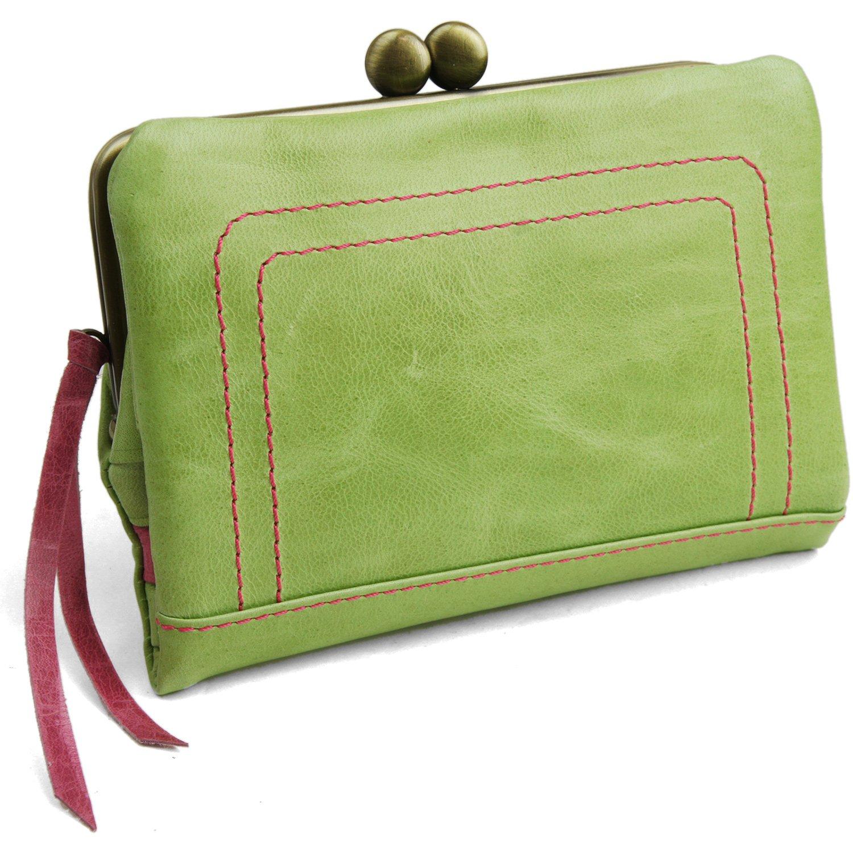 [パッカパッカ] pacca pacca 日本製 馬革 レディース がま口 二つ折り財布 袋縫いタイプ B00XXLC01A グリーン グリーン