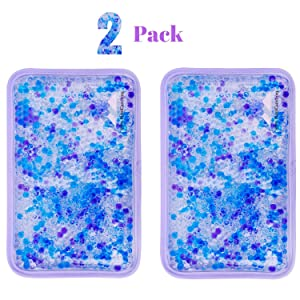 "Hot and Cold Gel Bead Ice Pack (2-Pack) by FOMI Care | Lavender Scented | Reusable Cold Wrap, Cold Compress & Heating Pad | Freezable, Microwavable | Fabric Backing (7.5"" x 4.5"")"