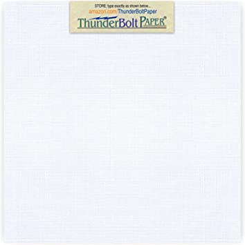 12X12 Inches Square Scrapbook Album Size 80 lb//pound Card Weight 50 Bright White Linen 80# Cover Paper Sheets Fine Linen Textured Finish Cardstock