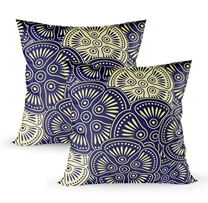 Phenomenal Grootey Throw Pillows Square Pillow Covers With Zip Couch Sofa Decor Fancy Floral Background 18X18 Set Of 2 Throw Cushion Inzonedesignstudio Interior Chair Design Inzonedesignstudiocom