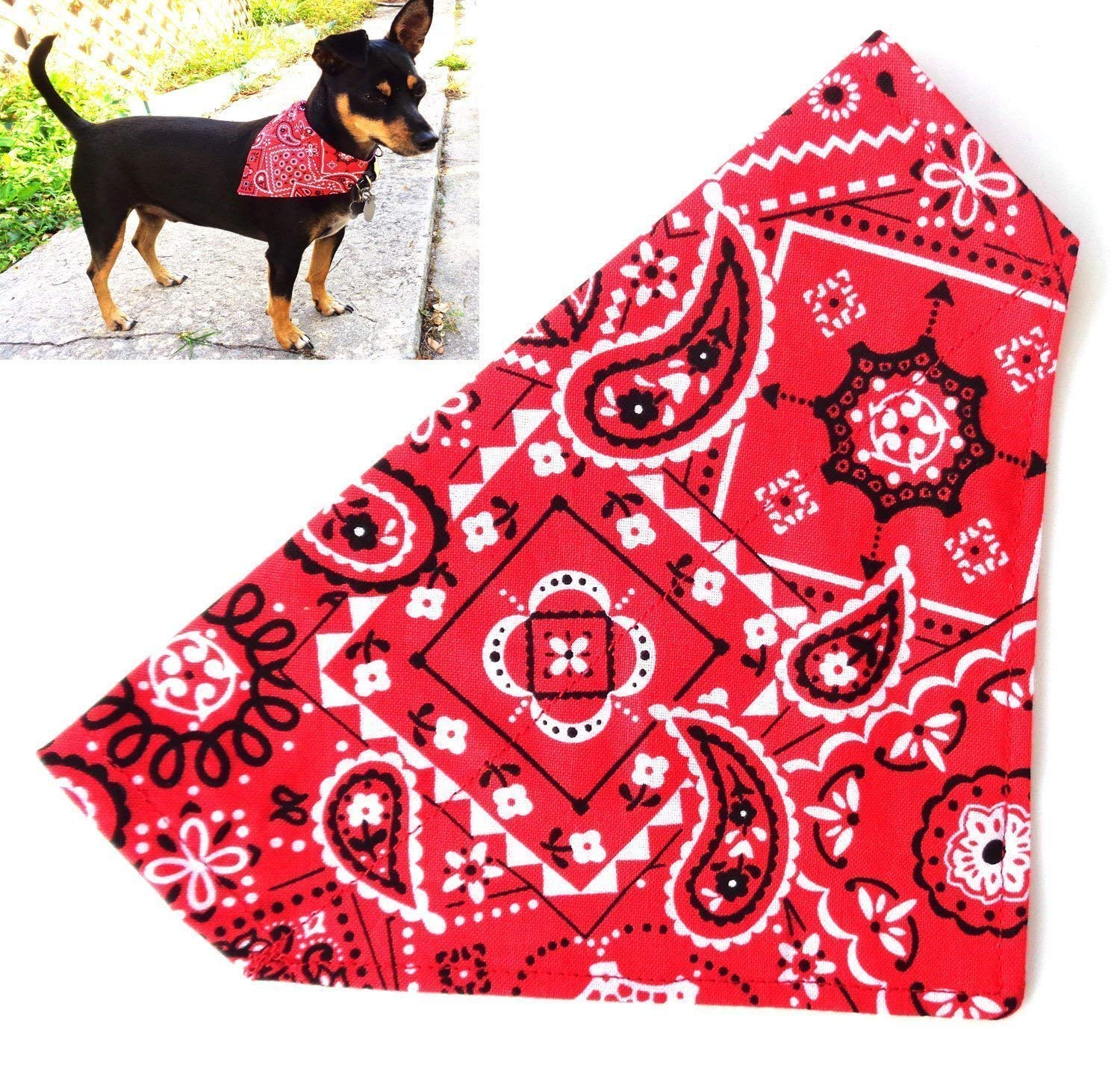 Classic Red Bandana Print for Small Dogs, Reversible Over the Collar Slip Thru Thread Through Style Petwear