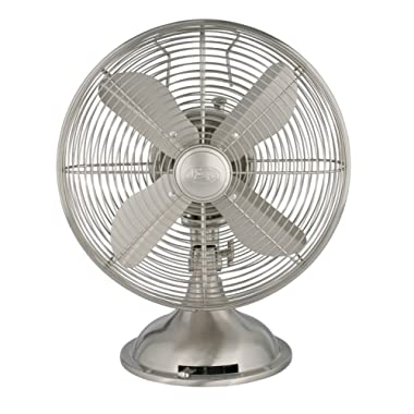 Hunter Home Comfort Hunter Retro Table Fan 12  Brushed Nickel
