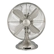 "Hunter Home Comfort Hunter Retro Table Fan, 12"", Brushed Nickel"