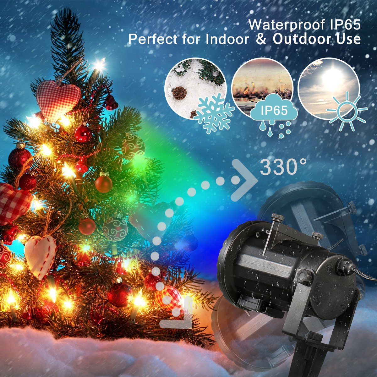 Christmas Projector Lights, JELEGANT LED Landscape Lights Projector Spotlights with Remote Control Waterproof Decoration Lighting with 12pcs Switchable Pattern Show for Halloween Holiday Party by JELEGANT (Image #7)