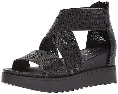 STEVEN by Steve Madden Women's NC-Klein Sandal, Black Leather, ...