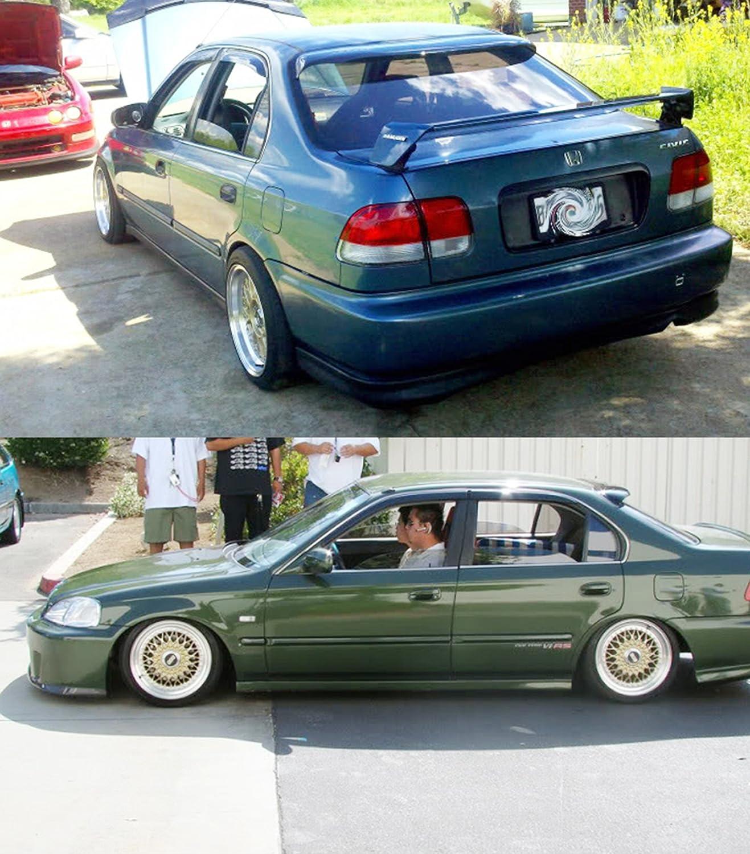 Cuztom Tuning Fits for 1996-2000 Honda Civic 4 Door Sedan JDM Smoke Tinted Rear Window Roof Visor Spoiler Deflecor
